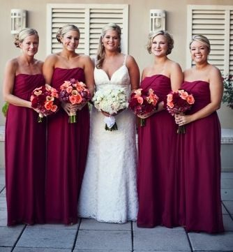 Elegant Maroon Bridesmaid dresses