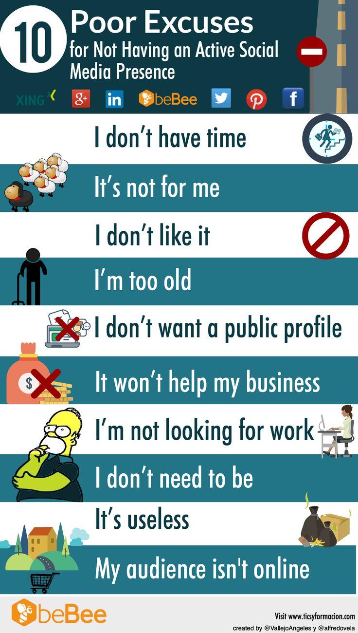 10 poor excuses for not having an active social media presence #Infographic #SocialMedia #SocialNetworks #Xing #GooglePlus #LinkedIn #beBee #Twitter #Pinterest #Facebook