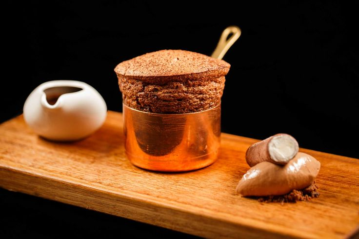 Bacchus South Bank | Dessert | soufflé, hot valrhona chocolate sauce &chocolate ice cream