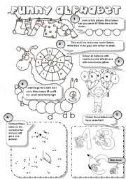 English worksheet: FUNNY ALPHABET! - 6 different alphabet activities for young learners