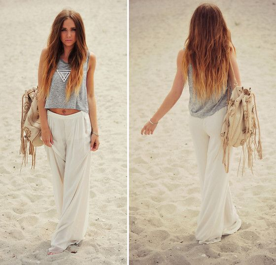Love everything from the hair to the outfit!: Fashion, Summer Outfit, Dream Closet, Clothing, Beaches Pants, Beaches Outfit, Linens Pants, Ombre Hairs, Beaches Styles
