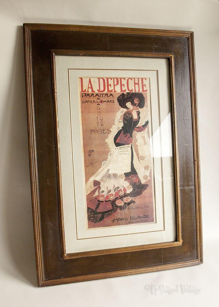 Vintage Retro La Depeche Cover 8 March Art Nouveau Wood Framed Print by UpStagedVintage on Etsy