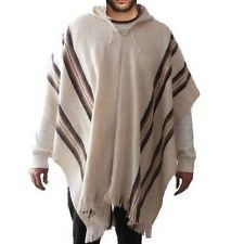 Alpaca wool Mens Poncho Hooded sweater cape coat man handmade jacket Bolivia