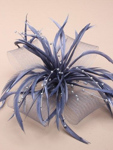 Silver grey Large looped net,bead and feather fascinator - Wedding, Prom,Races