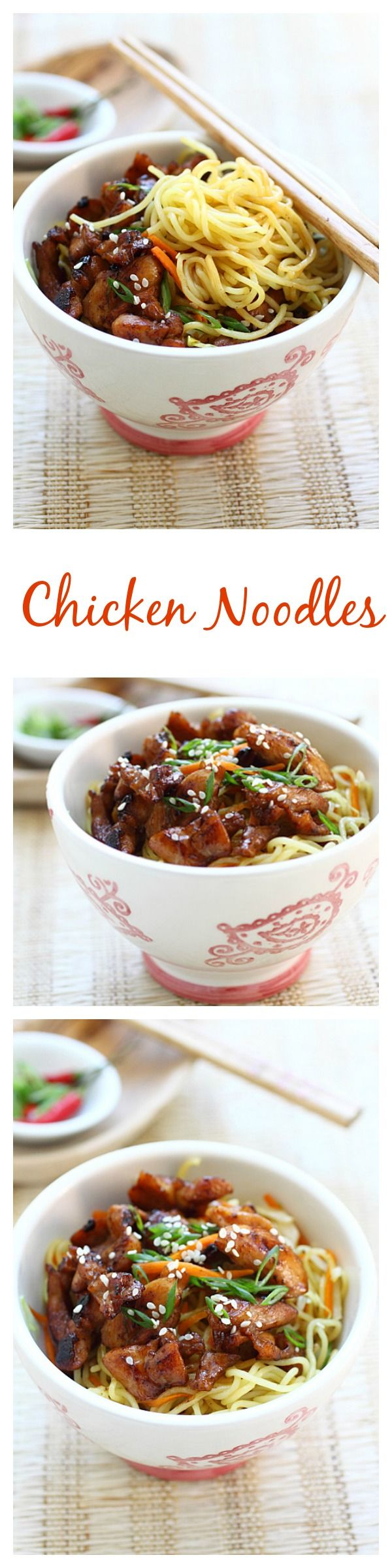 Stir-fried chicken noodles with chicken and egg noodles. This easy chicken noodles recipe is delicious, easy to make, and perfect for weeknight dinner.