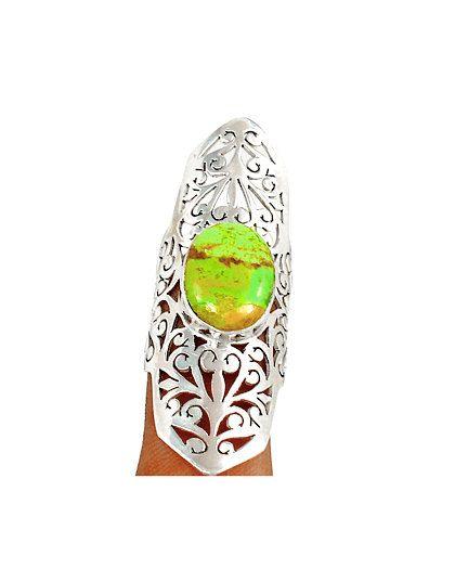 Australian Gaspeite Green Genuine Gemstone 925 Sterling Silver  5.5cm Long Half-Finger Statement Ring Jewellery Sz8 by Ameogem on Etsy