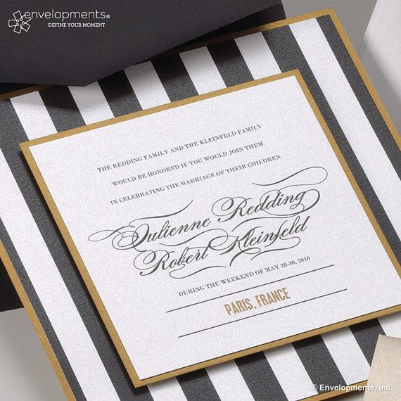Modern Stripes with a Paris France Theme, Square Wedding Invitations Custom
