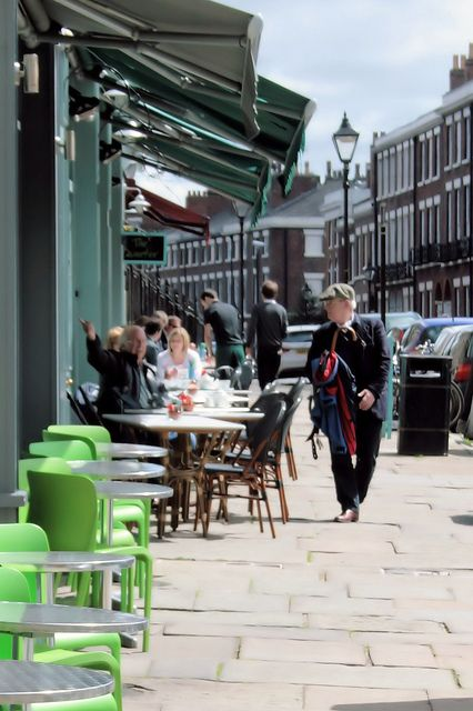 The Quarter, Falkner Street, Liverpool, England. A beautiful sun-trap of a pavement café with picturesque views of the Cathedral and wonderful food.
