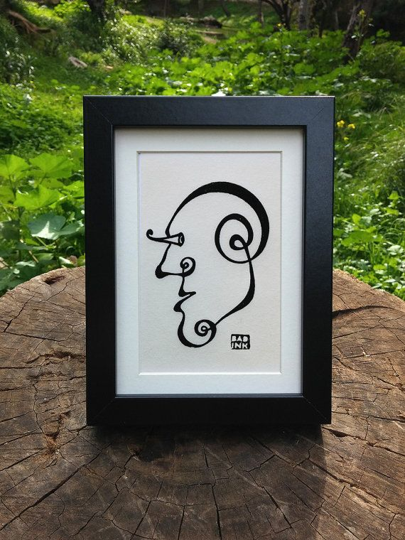 Surreal Face Hand printed  on handmade paper 8x10 by theBADINK