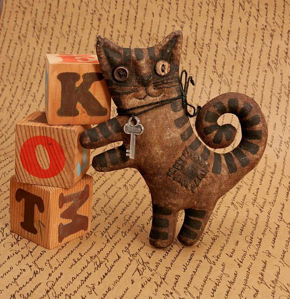 Примитивный Кот любитель подарок народного искусства примитивный Декор Хэллоуин кошка Коллекция текстильные примитивные куклы животных котенок кошка коричневая смешные кошки