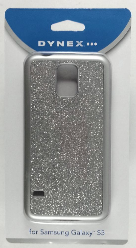 Dynex Phone Case For Samsung Galaxy S 5 S5 DX-MS5DB23 Silver (Glitter) NEW!! #Dynex
