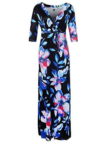 f3a9fbd09fa1 Donna Vestito Lungo Estivo Collo V Casual Elegante Floreale Bohemian Abito  da Spiaggia Manica a 3