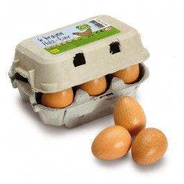 6-pack bruna ägg av trä i en äggkartong - Erzi - JULKLAPPSTIPS - Medvetna.se