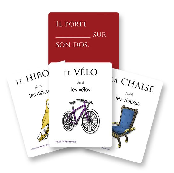 French vocab game much like Cards Against Humanity (but more appropriate). Definitely worth it to buy the deck instead of printing my own for free.