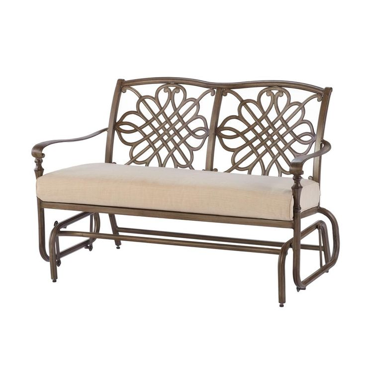 Hampton Bay Cavasso Metal Outdoor Glider With Oatmeal Cushion
