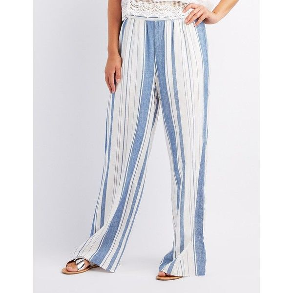 Charlotte Russe Striped Palazzo Pants ($27) ❤ liked on Polyvore featuring pants, multi, wide-leg pants, beach pants, high waisted palazzo pants, wide leg palazzo pants and linen pants