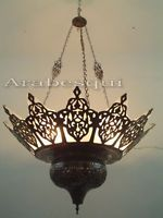 BR227 Large Oriental Brass Moroccan Chandelier Lined With Stained Glass