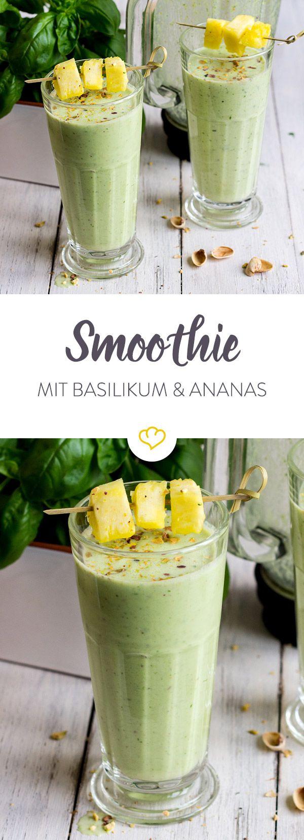 Das Rezept für den Basilikum Ananas Smoothie und viele weitere Smoothie-Rezepte gibt's im Springlane Magazin.