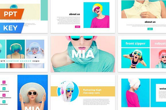 Mia Presentation Template.Best PowerPoint templates for businesses like social media, marketing, branding, education, advertising. More #creative #powerpoint #templates for your #business you can download here ➝ https://creativemarket.com/templates/presentations?u=BarcelonaDesignShop