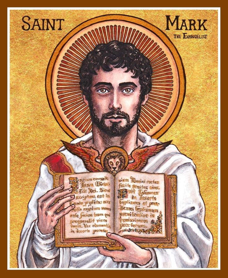 St. Mark the Evangelist by Theophilia on deviantART ~ watercolor, ink & gold leaf