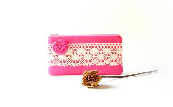 Wedding Clutch Purse/ Bridesmaid clutch/ Zippered Pouch, hot pink wedding clutch purse by lolos
