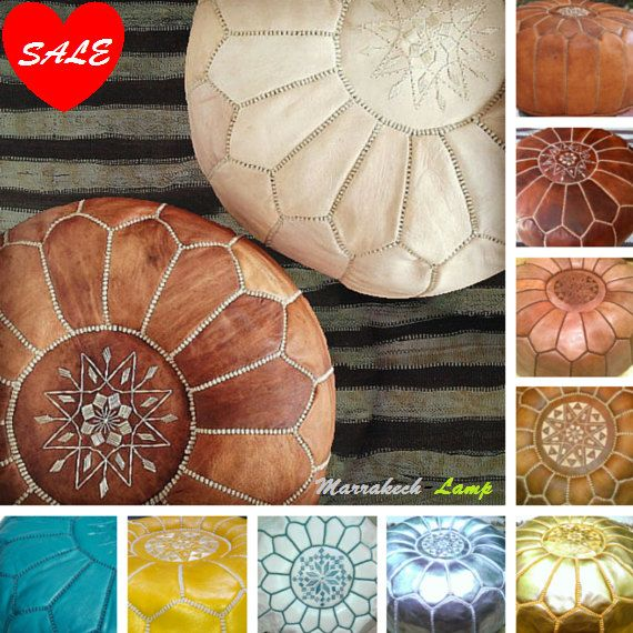 "2 MOROCCAN POUF-moroccan pouf,(14""x 20"")ottoman storage,leather footstool,hand-stitched,Gift for birthday and wedding christmas,dark leather"