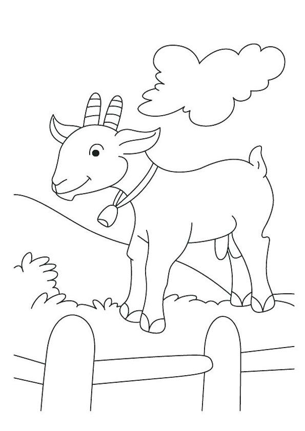 Goat Coloring Page For Kids Farm Animal Coloring Pages Animal Coloring Pages Cute Coloring Pages