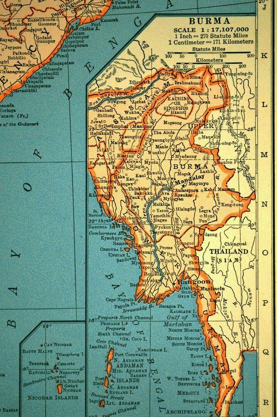 India Map Of India Wall Art Decor Vintage Ceylon Nepal Burma 1940s