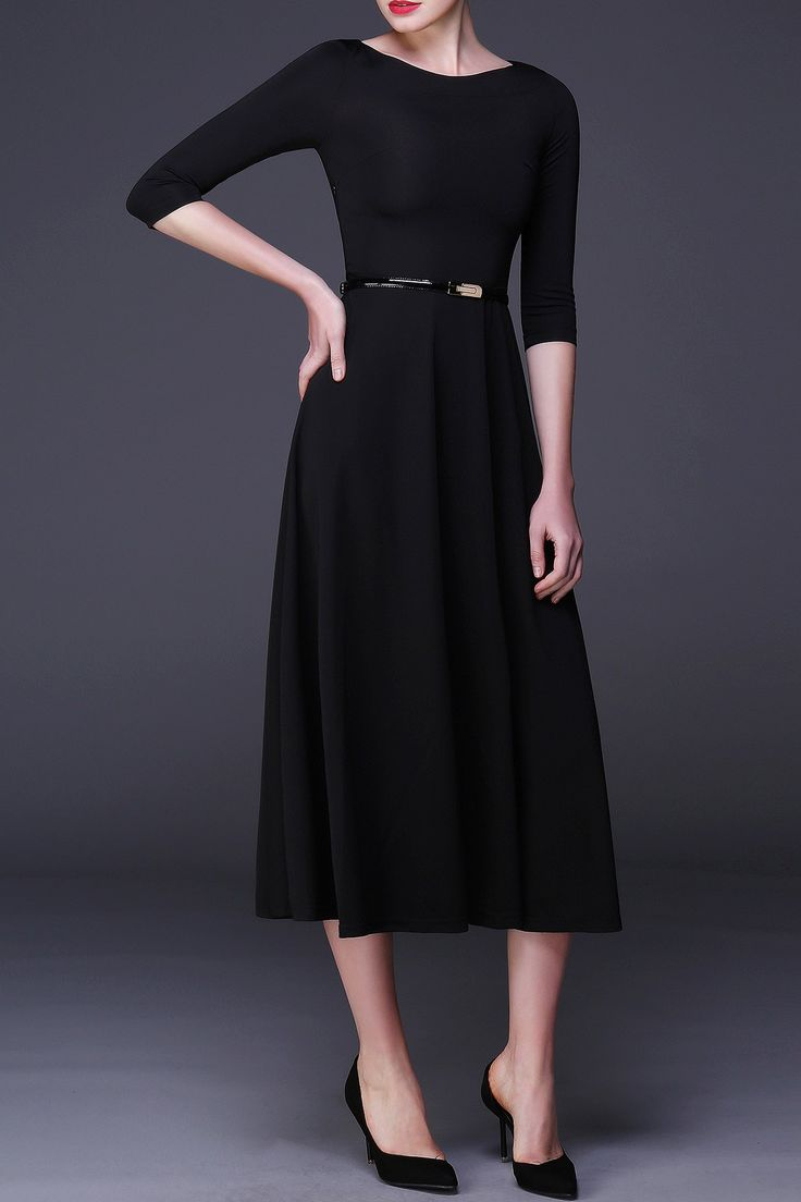 Black dress quarter sleeve - Cys Black Three Quarter Sleeve A Line Midi Dress Midi Dresses At Dezzal