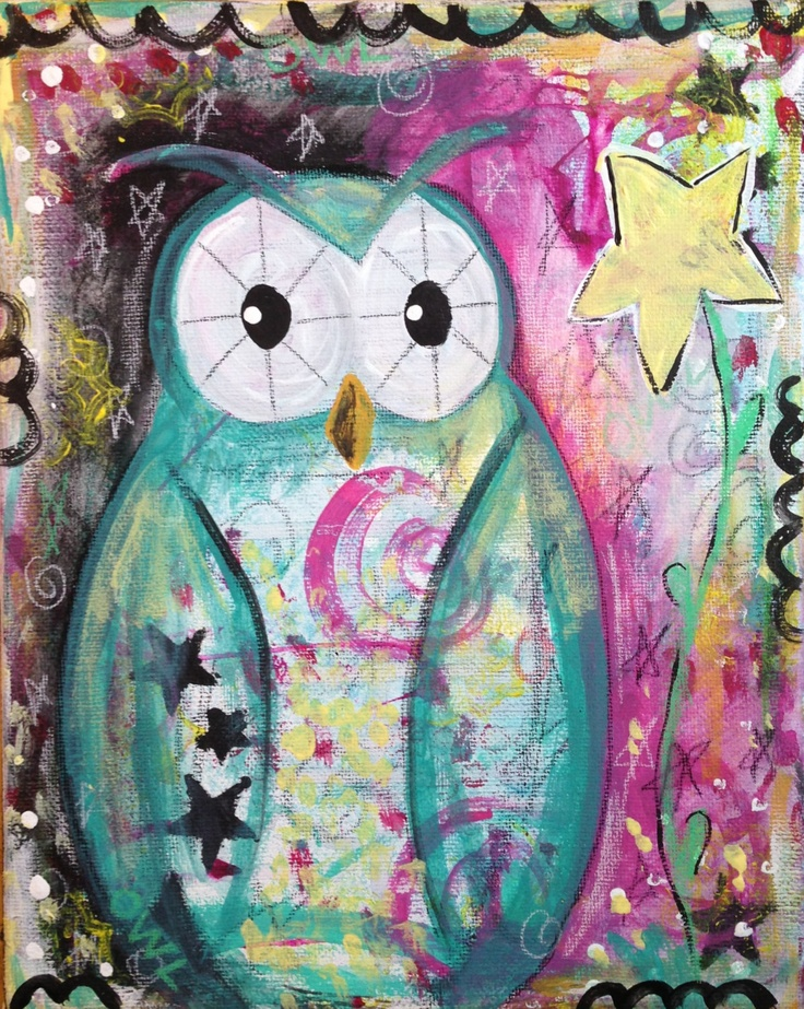 Original Whimsical Mixed Media Owl Star Flower by naomisnotions