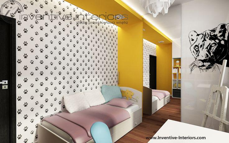 Projekt pokoju dziecięcego Inventive Interiors - biało-czarny pokój dziewczynki z żółtymi akcentami i motywem zwierzęcym
