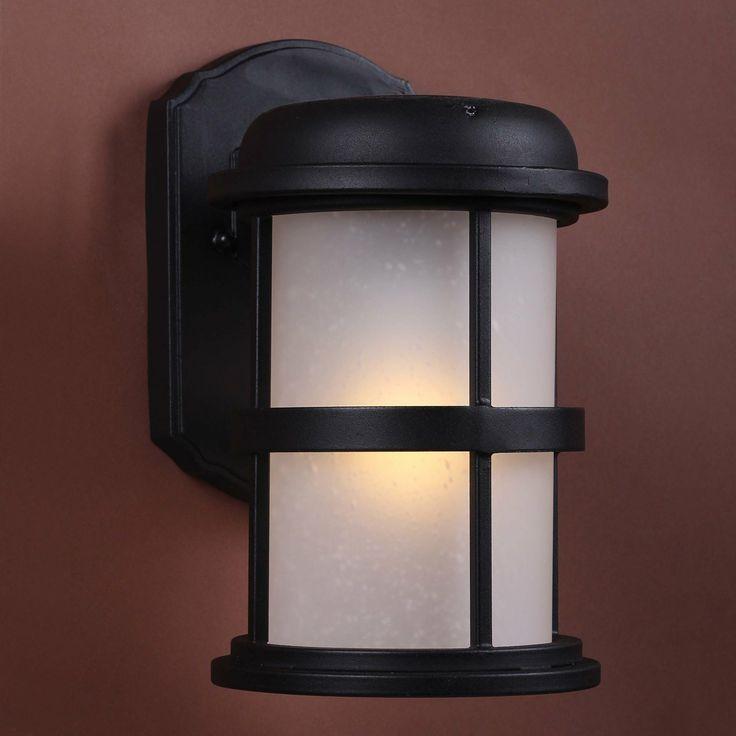 Welhome Bollard Light Garden Pedestal Led Solar Lamps: SOLAR Hybrid LED Outdoor Sconce, Black,