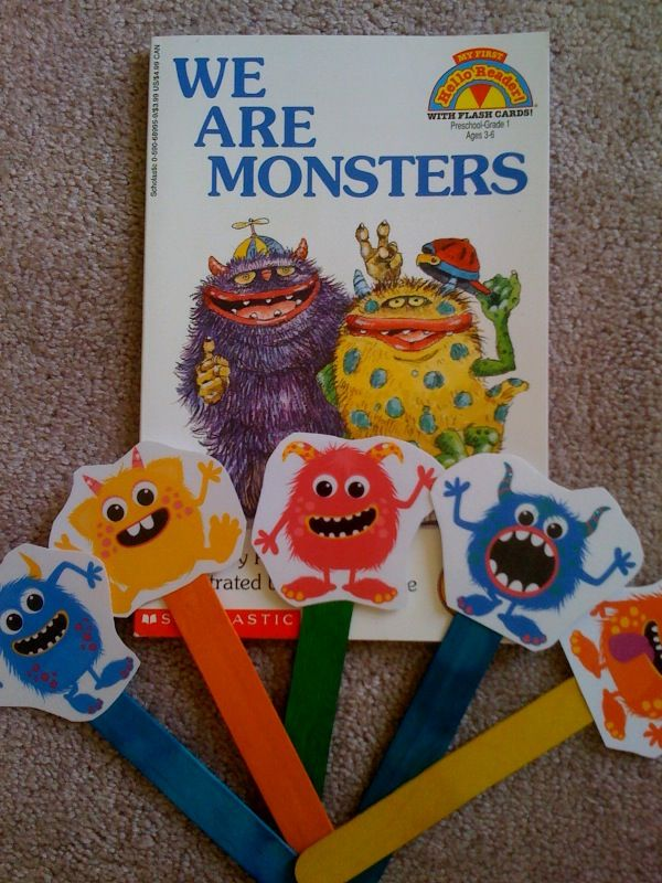 Monster activities: Preschool Printables: FREE Little Monsters Songs & Puppet Sticks.