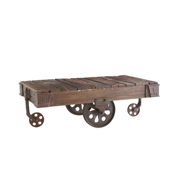 Love These Railroad Flat Car Coffee Tables!