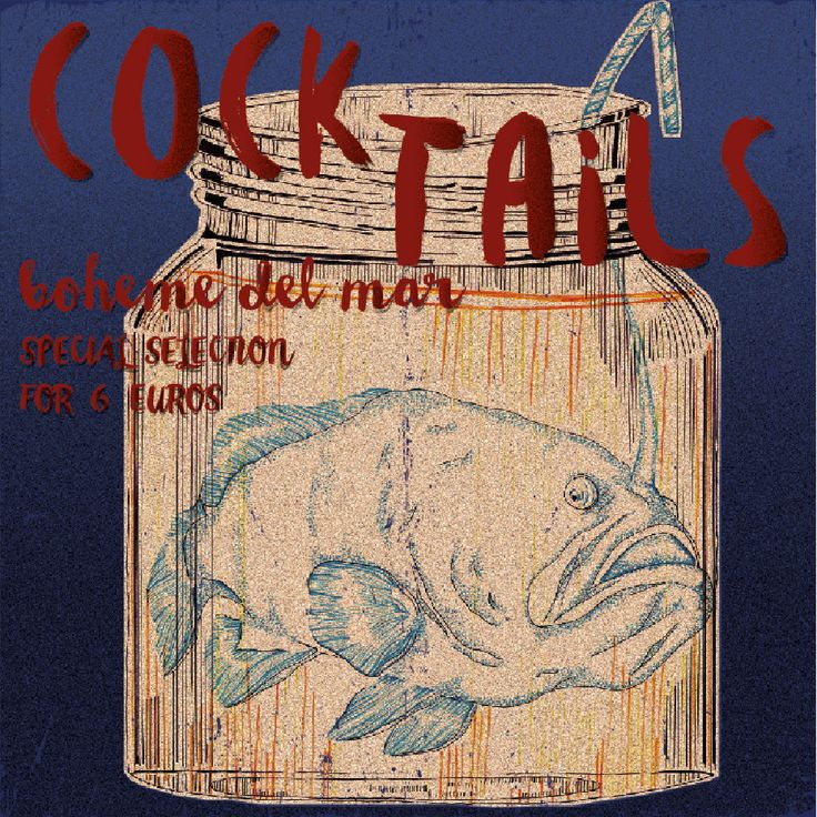 Hand-painted poster for cocktail bar.