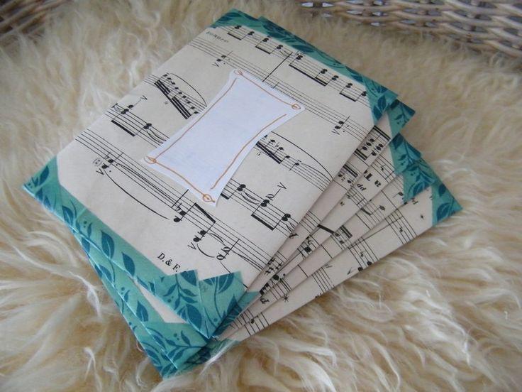 Enveloppen - Handgemaakte enveloppen van vintage muziekpapier - Een uniek product van EccentricLady op DaWanda
