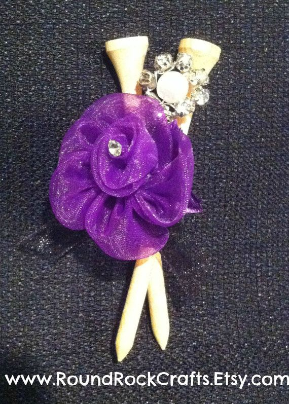 Golf tee boutonniere with sheer rose and bling Diy