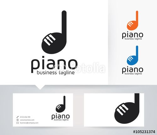 Vector: Piano vector logo with alternative colors and business card template