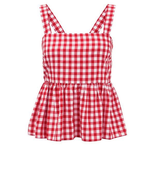 Red Gingham Check Peplum Hem Cami Top | New Look
