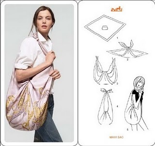 Scarf into bag ( even a small tablecloth could be used )