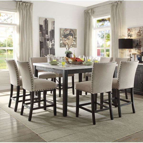 Jeannie 9 Piece Pub Table Set Counter Height Dining Table Pub Table Sets Dining Room Sets 9 piece round dining set