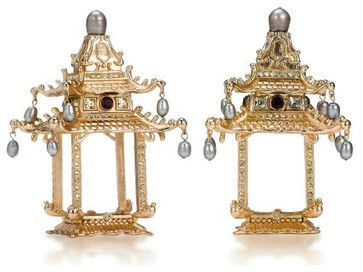 Pagoda Gold Plated Napkin Rings - asian - napkin rings - Michael C. Fina