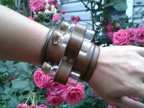 Apothecary leather bracelet with 3 removable glass vial, medieval, larp