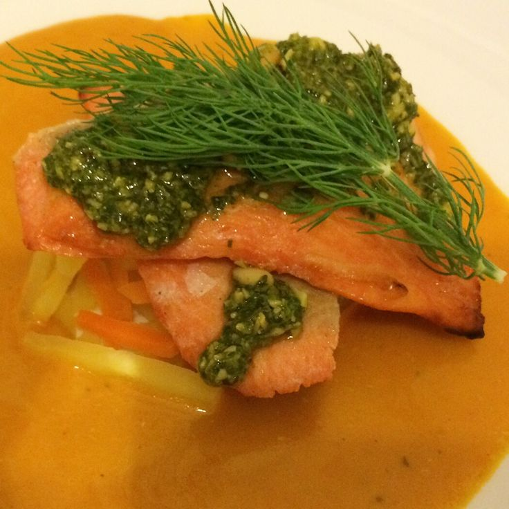 Cider Cured Wild Sea Trout with a Rich Crab Bisque sat on a Julienne of Vegetables