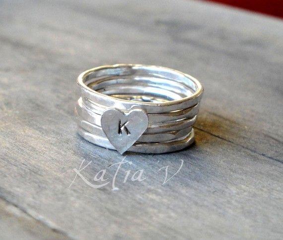 anello personalizzato a mano argento anelli impilabili set di 5 - anello di cuore monogramma - anelli di impilamento on Etsy, 31,25€