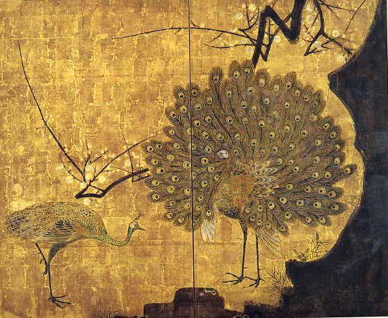 孔雀立葵図屏風,尾形光琳,18th century,Japan