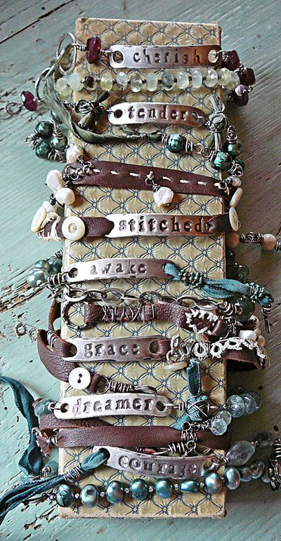 Bracelets!!: Nina Bagley, Idea, Style, Cute Bracelets, Metals Stamps, Things, Accessories, Leather Bracelets, Crafts