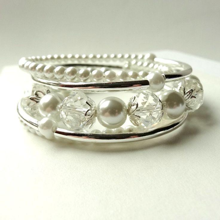 White Pearl Bracelet Silver Tube Memory Wire