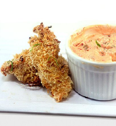 , Baked Coconut Lime Chicken Strips with Spicy Yogurt Dipping Sauce ...