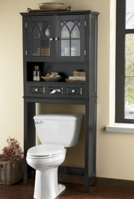 Covington Space Saver  This handsome space saver will fit over any standard toilet, adding valuable space for storing towels and bathroom necessities. Upper cabinet has one fixed shelf; drawer has built-in tissue dispenser.